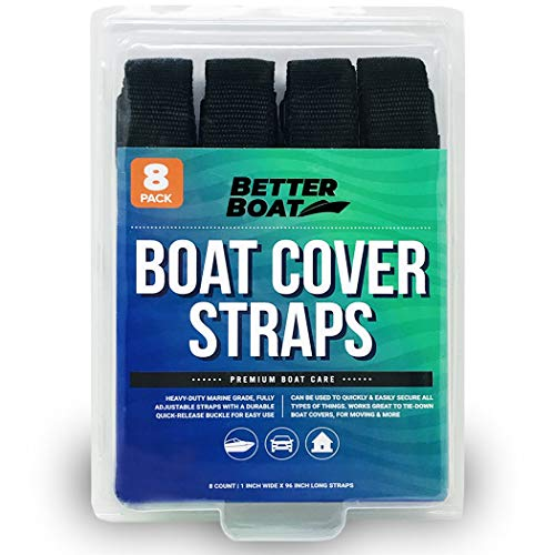 """Boat Cover Straps Adjustable Buckle Straps 8 Pack Simple Strap for Securing 1"""" x 96"""""""