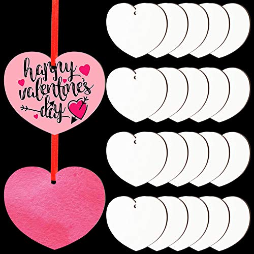 ruggito 20 Pieces Sublimation Blank Pendants with Heart Shape, Valentine's Day Sublimation Blank Ornament for Holiday DIY Craft Supplies