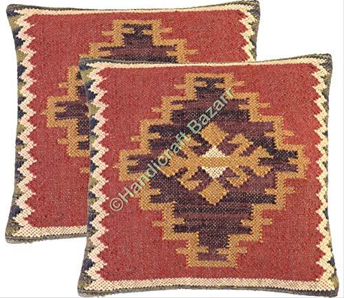 Handicraft Bazar R Set de 2 cojines, funda de cojín Kilim, hecha a mano, funda de cojín de yute para exteriores, funda de cojín bohemio, funda de almohada