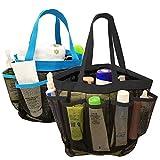 YuCool, borsa portaoggetti da doccia portatile in rete, organizzato in 8 scomparti per shampoo, sapone e altri accessori da bagno, nera e blu, confezione da 2