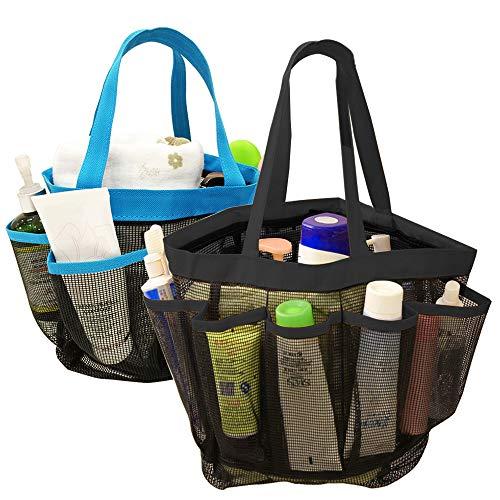 YuCool 2 unidades de organizador de ducha de malla portátil, de secado rápido, para colgar en la ducha, con 8 compartimentos de almacenamiento para champú, jabón y otros accesorios de baño