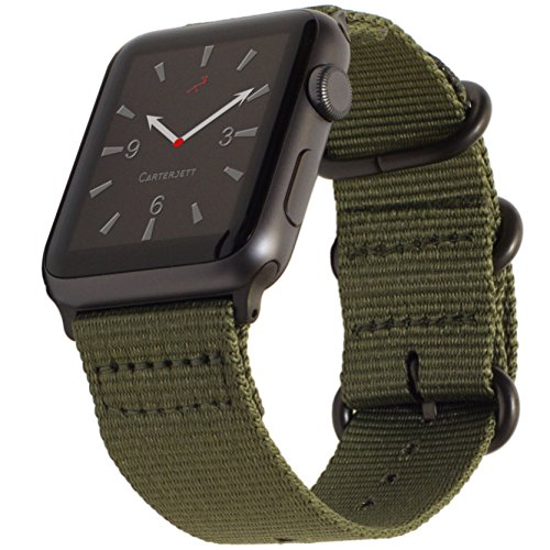 Carterjett Compatible with Apple Watch Band 42mm 44mm Nylon Olive iWatch Bands Replacement Strap Durable Dark Gray Adapters Military-Style Buckle for Series 5 Series 4 3 2 1 (42 44 S/M/L Army Green)