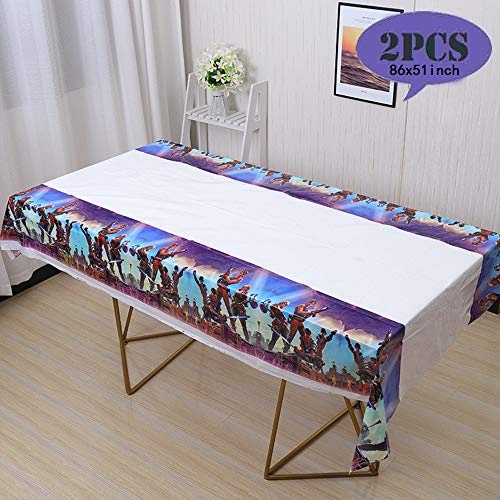 2 Pack Popular Game Battle Royale Plastic Tablecloth 86 x 51 inches Disposable Tablecover Video Game Birthday Party Supplies Decorations for Kid Boy Baby Shower Rectangle Tables