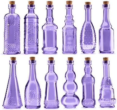 BULK PARADISE Mini Purple Vintage Potion Bottles with Corks Assorted Shape Bud Vases and Decorations product image