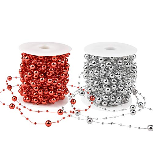 Artiflr 2Pack Christmas Tree Beads Garland,Total 131 Foot Fishing Line Artificial Pearls Beads String Roll Chain Faux Pearl Beaded Trims for Wedding Christmas and Holiday DIY Supplies(Red&Silver)