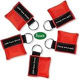 Paquete de 5 llaveros con máscara de RCP, kit de emergencia Tenquan CPR protectores facia...