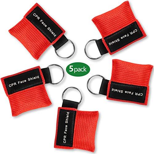 Tenquan CPR Masken-Schlüsselanhänger, Notfall-Set, Gesichtsschutz mit Einwegventil, Atembarriere für Erste Hilfe oder AED Training, 5 Stück