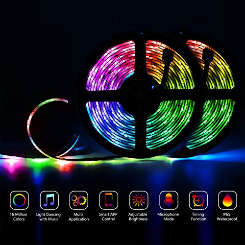 Gusodor Led Strip Lights 32.8 Feet Outdoor Led Lights Waterproof 300 LEDs Flexible Led Light Strips Color Changing Music Sync RGB Rope Light with Remote Smart Led Lights for Bedroom Home Kitchen 8
