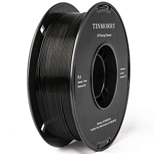 Filament 1,75 PLA Schwarz, TINMORRY 3D Drucker Filament, PLA Filament 1,75 mm 1 kg Spool