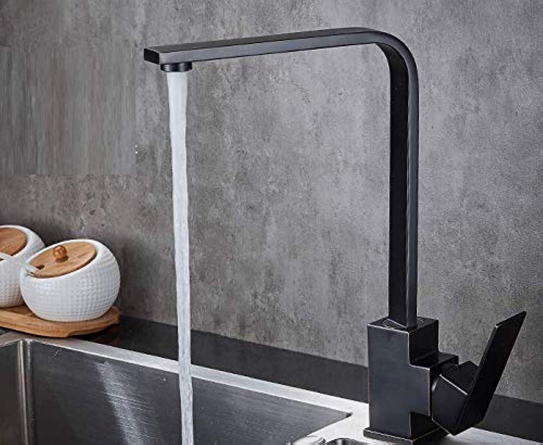 Schwarzes Küchenspülbeckenheies und kaltes Wasserhahn 304 Edelstahl quadratisches drehendes Spülbeckenhahnhahn