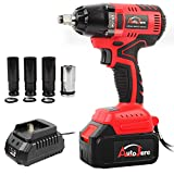 "Cordless Impact Wrench with 1/2"" Chuck, Max Torque 405 ft.lbs (550N.m), Powerful Brushless Motor, 3.0A Li-ion Battery..."