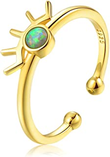 Sterling Silver Opal Ring Dainty Evil Eye Stacking Ring