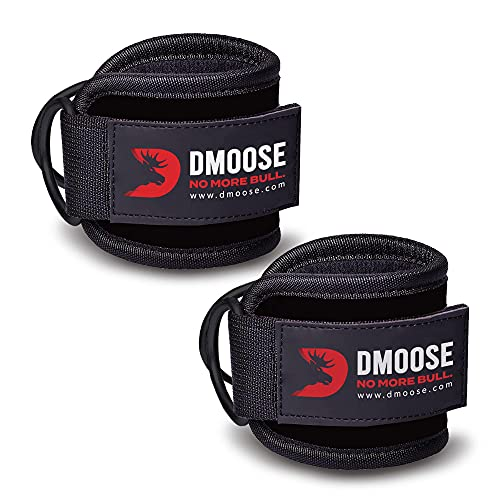 DMoose Fitness Ankle Straps for Cable Machines - Padded Gym Cuffs for Kickbacks, Glute Workouts, Leg Extensions, and Hip Abductors for Men and Women, Steel Double D Ring, Adjustable Neoprene Support