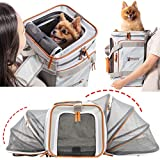 PETCIOUS Airline Approved Pet Carrier Backpack Under seat, Soft Unique Dog Purse Travel Carriers Backpacks for Hiking Camping Outdoor, Tote Front Expandable Bag for Small Puppy Dogs in Airplane Car