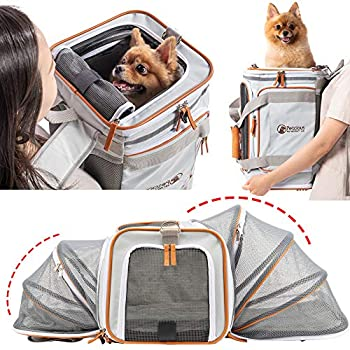 PETCIOUS Airline Approved Pet Carrier Backpack Under seat Soft Unique Dog Purse Travel Carriers Backpacks for Hiking Camping Outdoor Tote Front Expandable Bag for Small Puppy Dogs in Airplane Car