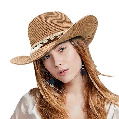 DEMU dames zomer zonwering zonwering panama cowboy fedora hoed strohoed strandhoed