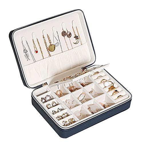 SMEJS - Caja organizadora de joyería para exhibición de anillos, para 30 anillos, pendientes, broches y gemelos (color: azul)
