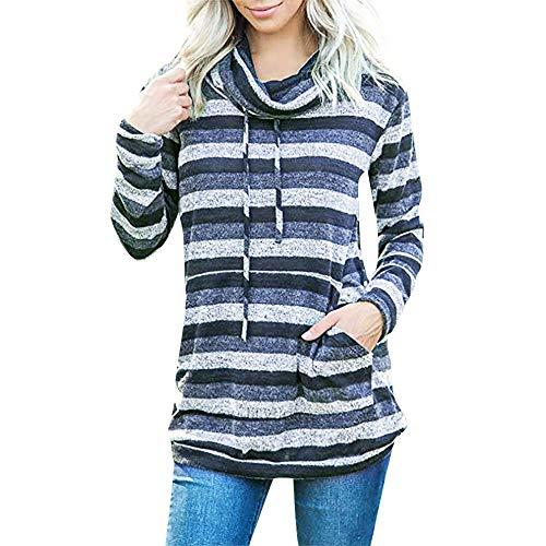 YWLINK Damen Oversize Kapuzen Sweatshirt Gestreifte Langarm Kordelzug Pullover Pulli Pullover Rollkragen Oberes(XL,Blau)