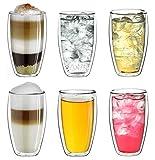 """Creano doppelwandiges Thermoglas 250ml """"DG-SH"""", großes Doppelwandglas aus Borosilikatglas, doppelwandige Kaffeegläser, Teegläser, Latte Gläser 6er Set"""