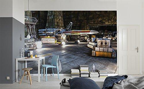Komar 8-4000 Fototapete aus Papier Star Wars – Rebel Base, Größe 368 x 254 cm (Breite x Höhe), 8 Teile, inklusive Kleister, Made in Germany, Bunt