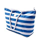 Large Canvas Striped Beach Bag - Top Zipper Closure - Waterproof Lining - Tote Shoulder Bag For Gym Beach Travel (Striped Blue)