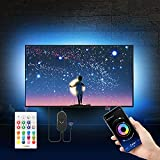 """16.4ft LED Lights for TV Size 55""""-75"""" with Remote, for Mirror, PC, APP Control Sync to Music, Bias Lighting, 5050 RGB USB LED Lights Compatible with Android iOS (13.2ft LED Strip+3.2ft Corner Cords)"""