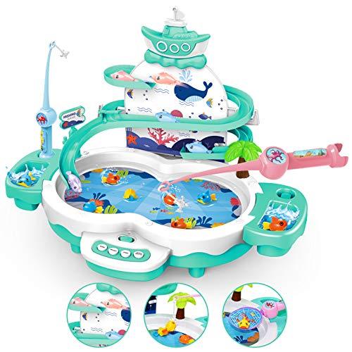 LBLA 4 in 1 Gioco di Pesca per Bambini,Magnetica Giocattoli da Pesca,Canne da Pesca Giocattolo Gioco di Pesca con Musicale Educativi Regalo per Bambini 3 4 5 6 Anni (Verde)