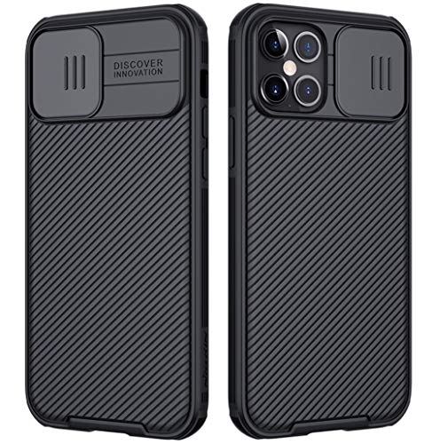 Mkej Case mit Slide Camera Cover Kameraschutz Camera Lens Protection Kompatibel mit iPhone 12 Pro Max Hülle, Robuste PC Handyhülle Cover Objektiv Schutzhülle Bumper Hybrid Hülle - Schwarz
