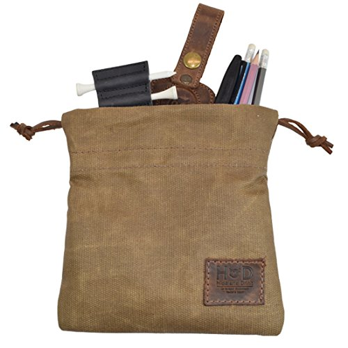 Hide & Drink Waxed Canvas Golf Valuables Field/Travel/Tech/Board Game Dice Pouch Handmade Fatigue