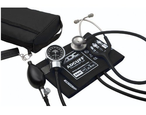 ADC - 778-603-11ABK Pro's Combo III Adult Pocket Aneroid/Clinician Scope Kit with Prosphyg 778 Blood Pressure Sphygmomanometer and Adscope 603 Stethoscope with Carrying Case, Black