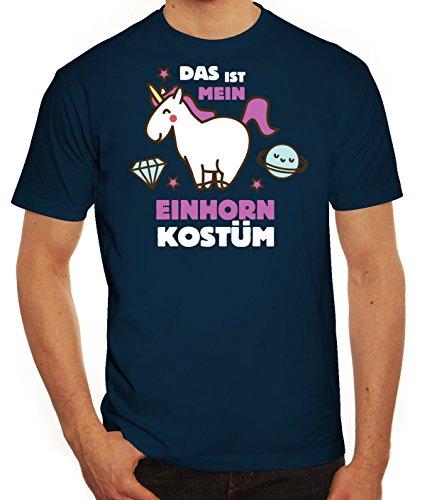 ShirtStreet Fasching Karneval Herren T-Shirt mit Das ist Mein Einhorn Kostüm 2 Motiv, Größe: M,dunkelblau
