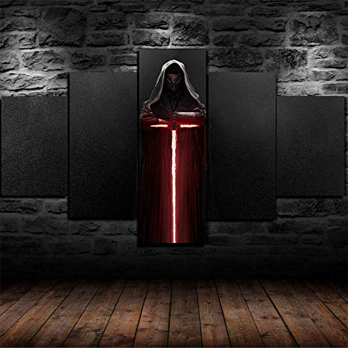 FGHJKOO 5 parts Canvas prints art picture/Kylo Ren Lightsaber Star Wars/Non-woven mural art print wall decoration - Ready to hang up, With Frame/Size:M/W=150Cm,H=80Cm