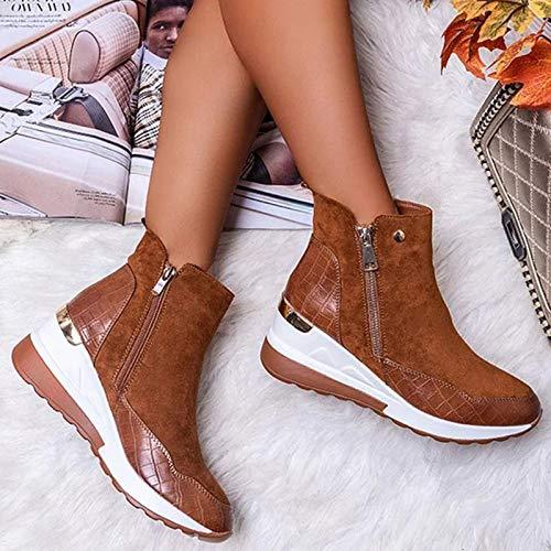 LYYJF - Zapatos de invierno para mujer, estilo informal, con cremallera, cómodos, impermeables, con plataforma alta, color marrón, 38