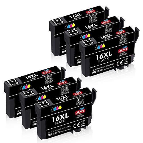 JIMIGO 16 XL 16XL Cartucce d'inchiostro Sostituzione per Epson 16 Cartucce Compatibile con Epson Workforce WF-2630 WF-2510 WF-2760 WF-2530 WF-2750 WF-2660 WF-2520 WF-2650 WF-2540 WF-2010 (6 Nero)