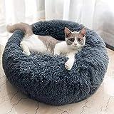 Plush Donut Pet Bed,Dog Cat Round Warm Cuddler Kennel Soft Puppy Sofa, Cat Cushion Bed Sleeping Bag Orthopedic Relief and Improved Sleep,Anti-Slip Bottom,Machine Washable (L-23.6