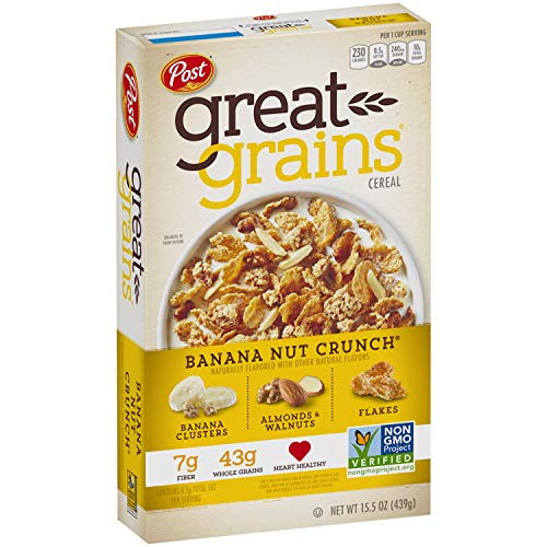 Post Great Grains Banana Nut Crunch Whole Grain, Non GMO Verified, Heart Healthy Cereal, 15.5 Ounce Box