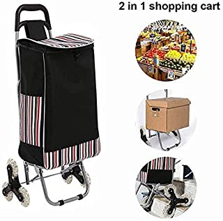 Quklei Folding Shopping Cart Stair Climbing Cart Grocery Carts Portable Utility Cart with Wheels, 66 Pounds Capacity (US Stock) (Black)