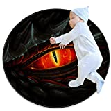 Glowing Red Eye of Black Dragon Baby Play Blanket, Baby Round Children Play pad Thickened Baby Crawling pad,39.4x39.4IN