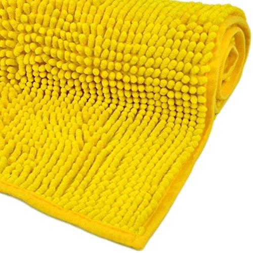 WohnDirect Badematte Gelb • Badezimmerteppich zum Set kombinierbar, rutschfest & Waschbar • Badvorleger, WC Garnitur, Badteppich • 50x80cm