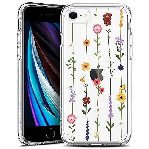 CielbyCYRILL Cecile kompatibel mit iPhone SE 2020 Hülle, Transparent Motiv Hart PC rückseite mit Soft Silikon Bumper Handyhülle Durchsichtige Case für iPhone 7/8, iPhone SE - Blumen Garten