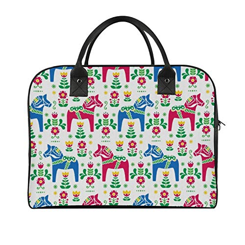 Yeuss Storage Bag Horses Classic Swedish Dalecarlian Coral Azure Blue Animals And Green Floral Arrangement Men And Women Travel Handbag Shoulder Bags