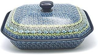Polish Pottery Baker - Rectangular Covered - Large - Tranquility