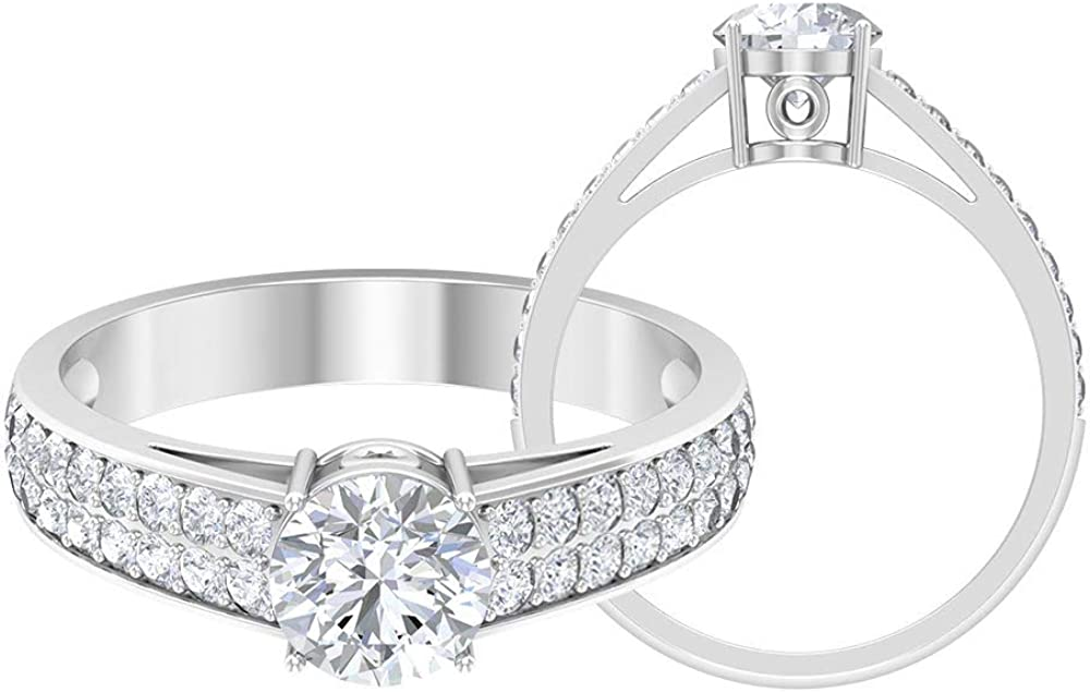 Solitaire Engagement Ring D-VSSI Round Max 42% OFF Moissanite Same day shipping CT 1.36