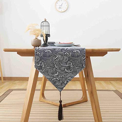 Camino De Mesa Algodón Y Lino Caminos De Mesa Estilo japonés Tejido Rústico Doméstica Casa De Campo Cocina Decoración del Hogar,B,33 * 180cm