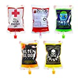 NUOBESTY Halloween Drinking Blood Bags-Reusable Energy Drink Storaging Bags Juice Pouch for Halloween Zombie Party Decoration, 250ml, 30 Packs