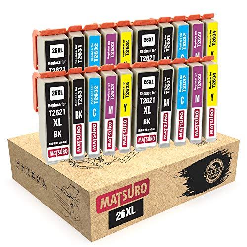 Matsuro Original   Compatible Cartuchos de Tinta Reemplazo para EPSON 26XL T2621 T2631 T2632 T2633 T2634 (4 Sets)