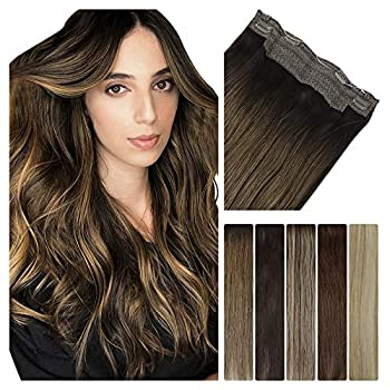 LeaLea Human Hair Extensions Halo Hair 14 Inch Ombre Dark Brown to Chestnut Brown 75g 100% Remy Hair Flip in Invisible Fish Line Straight Seamless Hairpiece for Women