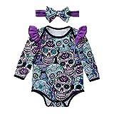 GoodLock Baby Girls Fashion Clothes Set Newborn Long Sleeve Halloween Cartoon Skull Romper Jumpsuit Headbands Outfits 2Pcs (Purple, 3 Months)