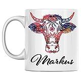 N\A aza de Vaca Personal con Nombre Markus, Taza de café de cerámica Blanca Impresa en Ambos Lados, cumpleaños para él, Ella, niño, niña, Esposo, Esposa, Hombres y Mujeres