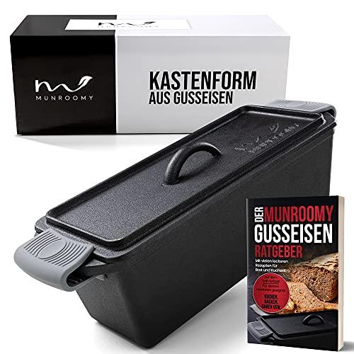 MUNROOMY Gusseisen Brotbackform mit Deckel - flexibel einsetzbar & extrem langlebig - Gusseisen Kastenform für perfekte Back- und Kochergebnisse - ideal zum Brotbacken, Braten & Kochen